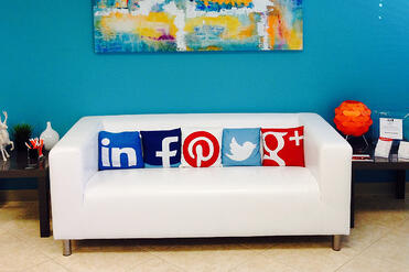 Social Media Marketing - a fun couch with social media pillows