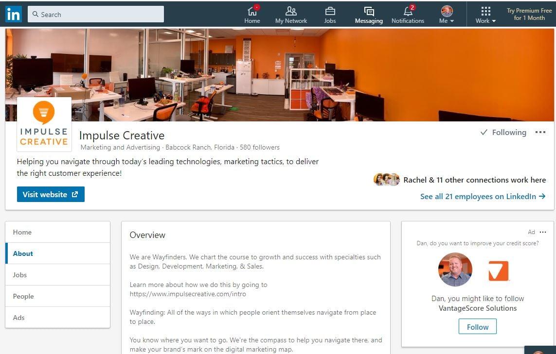 Impulse Creative on LinkedIn as 1 of 6 Alternatives to Facebook for Social Media Marketing