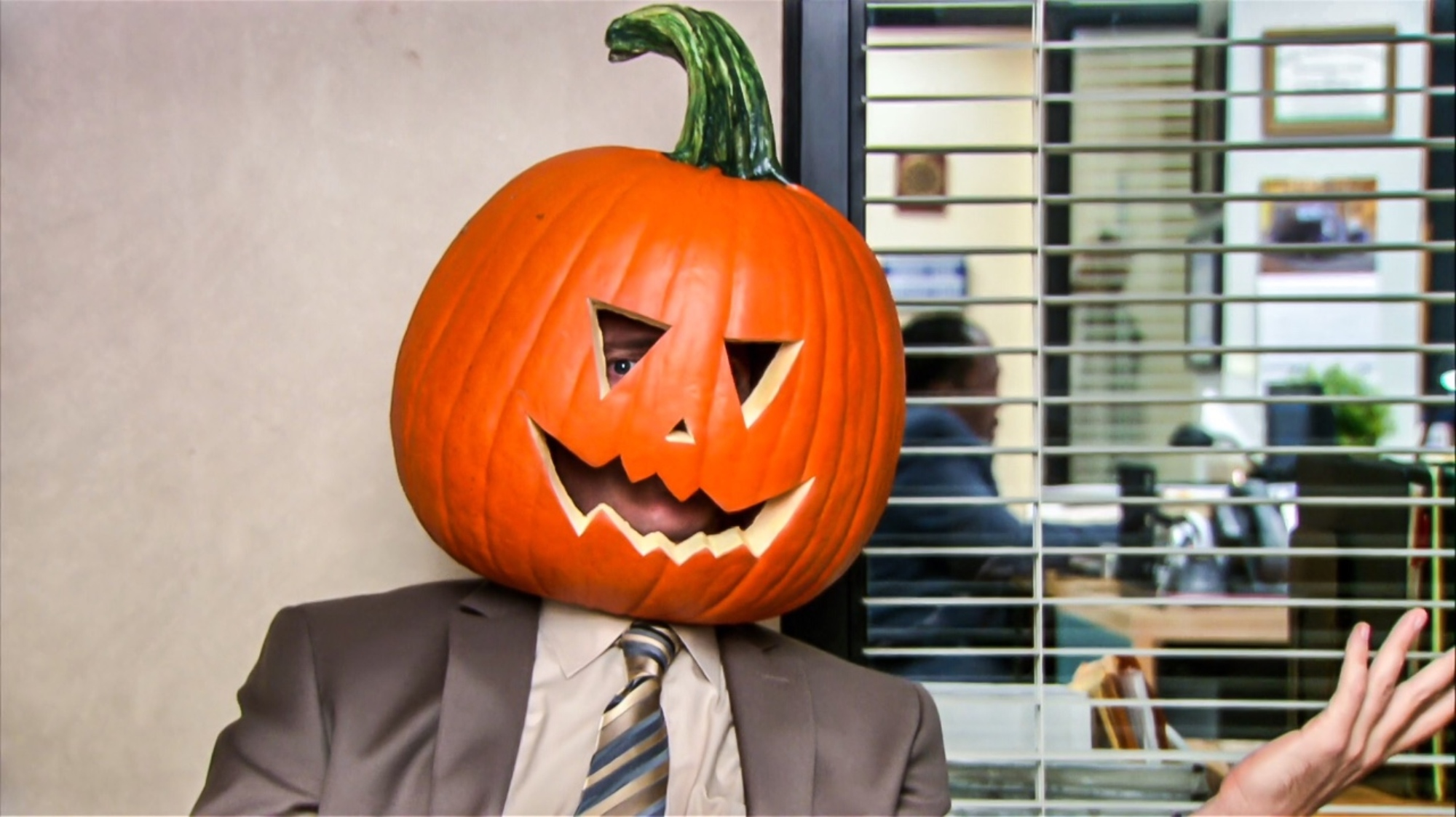 the office halloween pumpkin head