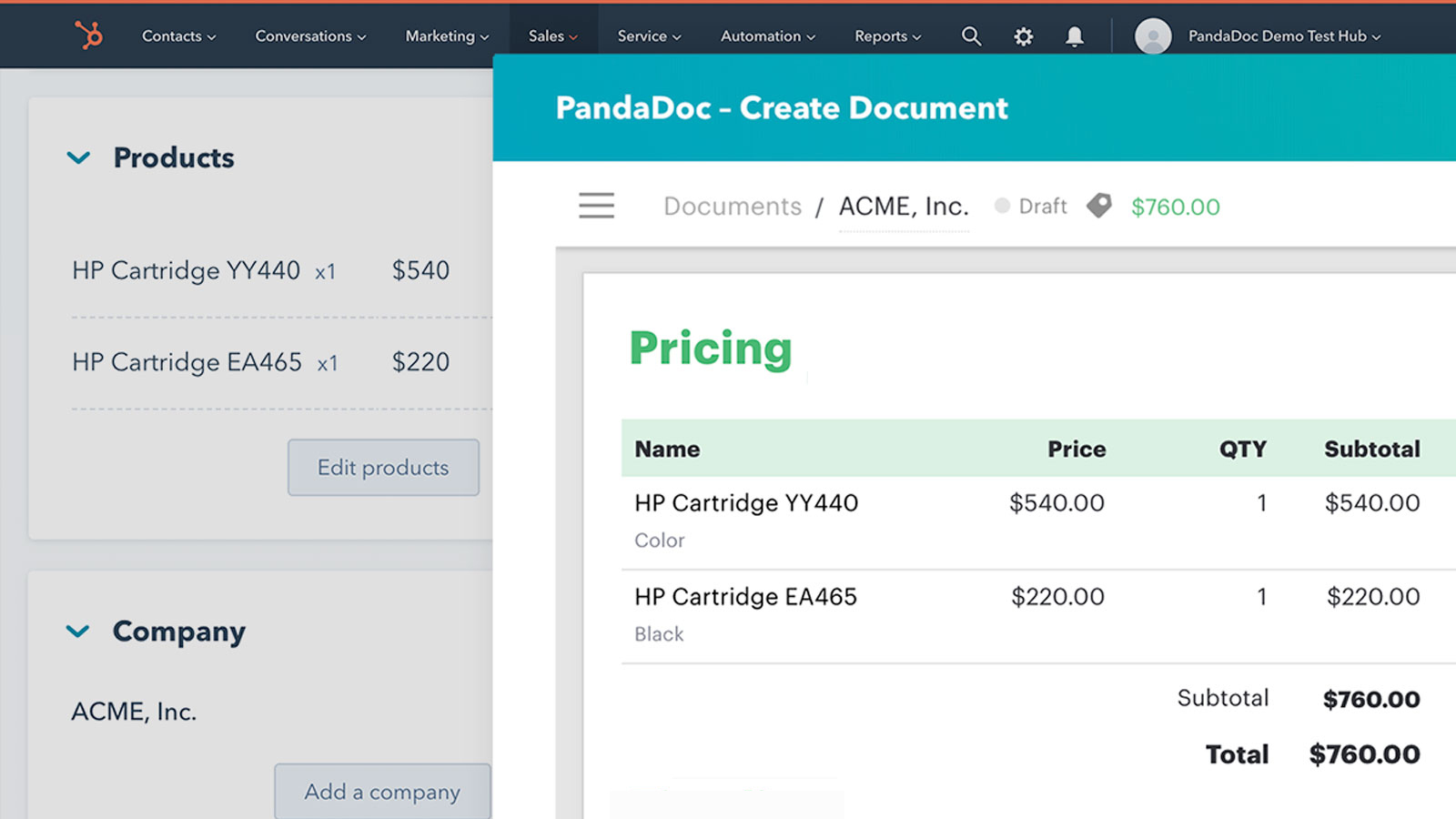 Use HubSpot Products in Pandadoc