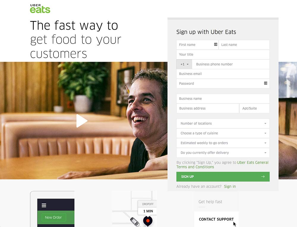 best-landing-page-example-uber-eats