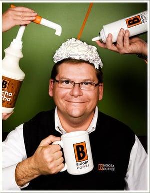 Bob Fish of Biggby Coffee having fun