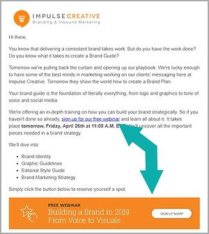 email ctas example in how to create emails that convert-writing