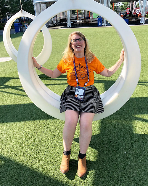 Jenn Villa on a lawn swing - what to expect at #INBOUND19 as women of inbound
