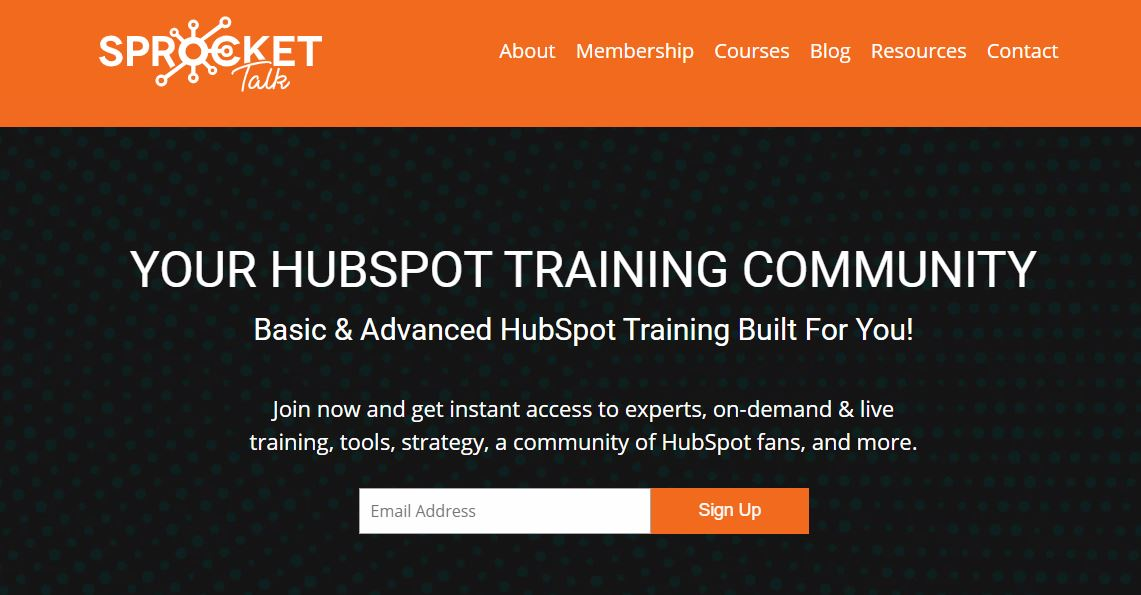 Sprocket Talk homepage for a HubSpot training resource option